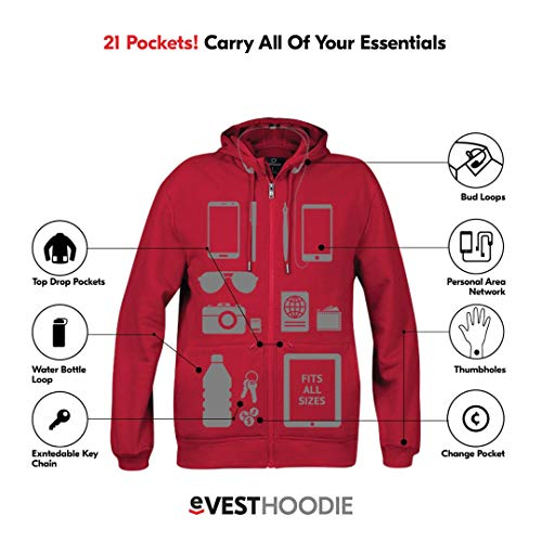 Product shot of men's travel hoodie with graphics showing the features.