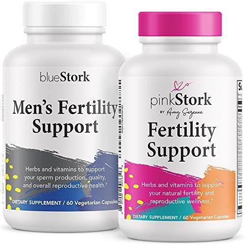 Pink Stork & Blue Stork Fertility Supplement Bundle: Fertility Supplements for Women + Men, Support Hormones, Conception, Reproductive Wellness, Fertility Prenatal Vitamins