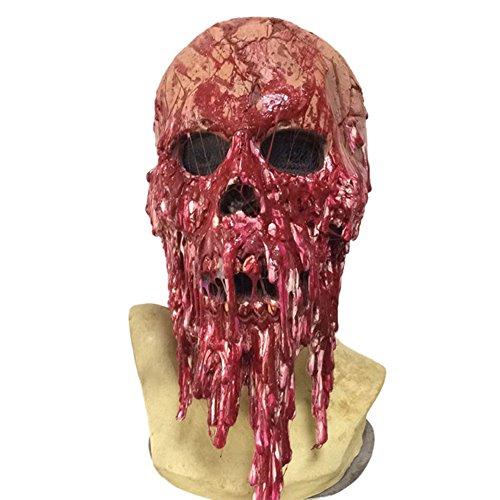 Brave Pioneer Halloween Maske Horror Zombie Monster Dämon Totenkopf Schädel Kopfmaske Untoter aus sehr hochwertigen Latex Material für Erwachsene Herren Damen Kostüm Karneval Verkleidung Fasching (rot)