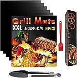 Mgee Tappetino Barbecue 50x40cm BBQ Grill Mat 6pcs Antiaderente e Riutilizzabile, Alte Temperature, Facile da Pulire per carbonella, Barbecue a Gas e Forno, con Pinze & Spazzola (Nero Carbone)