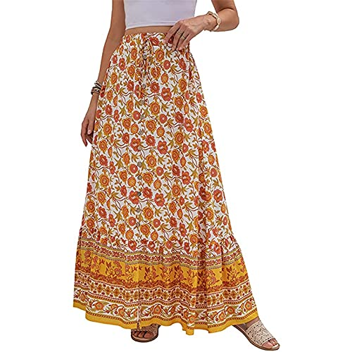 CRMY Falda hasta la Rodilla para Mujer Falda Midi Informal Falda Larga Plisada Falda de Playa Falda Midi de Cintura elástica con cinturón y decoración de Botones