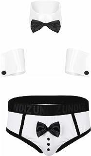 Zaldita Men's Sexy Waiter Cosplay Lingerie Set Gentleman Tuxedo Boxer Briefs Collar and Cuff Outfit