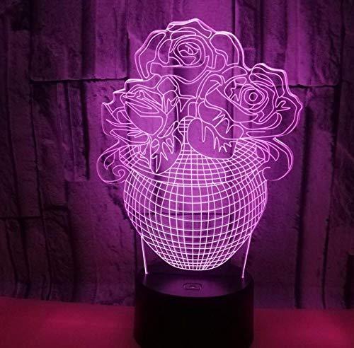 Luz nocturna 3D ilusión lámpara de proyección lámpara Flower pot vase style ideal como regalo de cumpleaños para niños, niños y hombres Con interfaz USB, cambio de color colorido