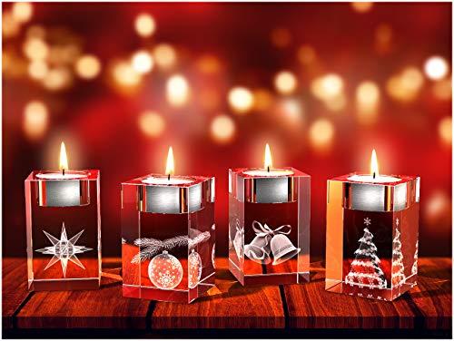 GLASFOTO.COM, Weihnachten Teelichthalter, 50 x 80 x 50 mm, Kristallglas 3D Innengravur in Premiumqualität (50 x 80 x 50 mm Adventsteelichtset 4)