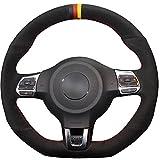 JI Loncky Black Genuine Leather Auto Custom Steering Wheel Covers for 2010-2014 VW GTI / 2012-2014 VW Jetta GLI / 2012 2013 VW Golf R / 2014-2016 VW Tiguan R-Line Accessories