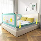 Adjustable Bed Rails for Toddlers, Vertical Lifting Bed Guardrail, Extra Long Safety Baby Bed Rail for Large Bed & Double Bed (Green, 71 Inch)