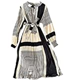 Laura Lily - Nuevo 2021 Vestido Largo Mujer. Estilo Bohemio. Falda Plisada, Vestido de Fiesta, Boda y Playa. (Plisado Raya Negro Blanco)