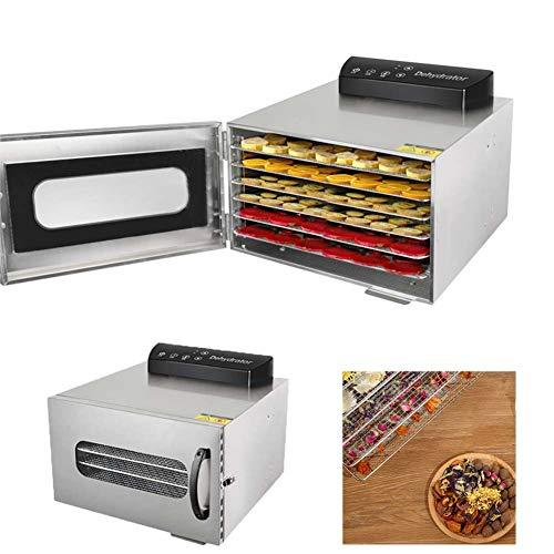 FXQIN Food Dryer Machine Dörrautomat Dörrgerät 6 Etage 400W Edelstahl Obsttrockner Dörrer Temperaturregler Timer für Lebensmittel Obst Fleisch Früchte, LED Bedienfeld und 24h Zeitschaltuhr