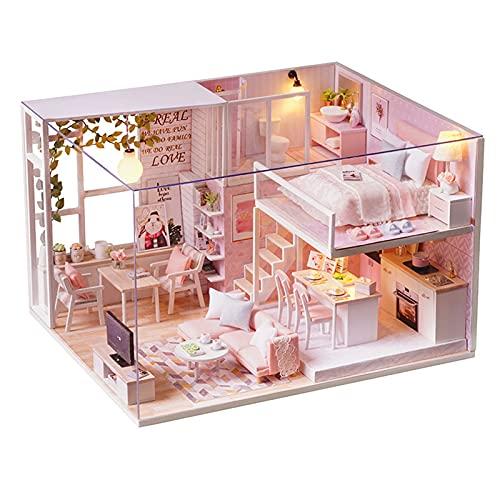 Nye DIY ATIC Modelo de casa montado a Mano, Haciendo Materiales para la casa de los sueños, con música y Cubierta de Polvo, Adecuado para Regalos de cumpleaños, Decoraciones, Juguetes, Rosa
