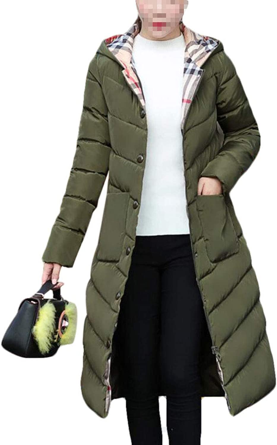 Frieed Women's Puffer Hooded Buttons Quilted Thicken Long Down Jacket Coat