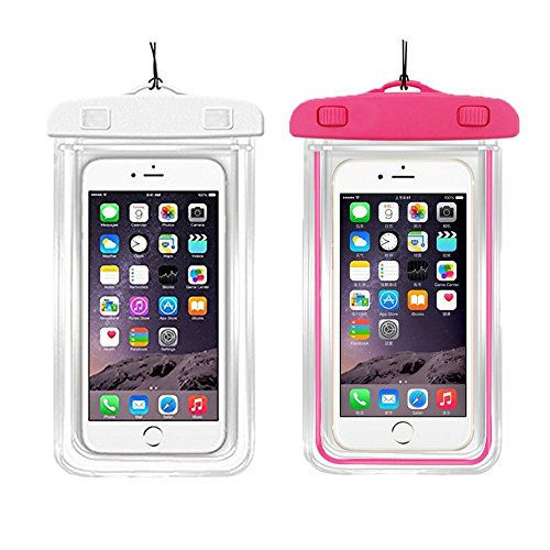 [2Pack Blue+2Pack pink] Universal Waterproof Phone Case Dry Bag CaseHQ for iPhone 7,7 plus,8,8...