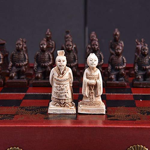 juman634 Juego de ajedrez pequeño Retro Juego de Mesa de Viaje Chino de la dinastía Ming y Qing Juego de ajedrez de Guerreros de Terracota para Adultos y niños