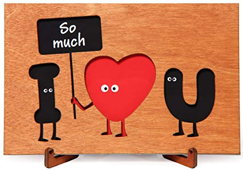 Wood Love Card with Stand, funny Wooden Gift for Valentine's Day, Wedding Anniversary, Happy Birthday. cute Present for Him, Boyfriend, Men, Husband or Her, Girlfriend, Women, Wife. Love You So Much.