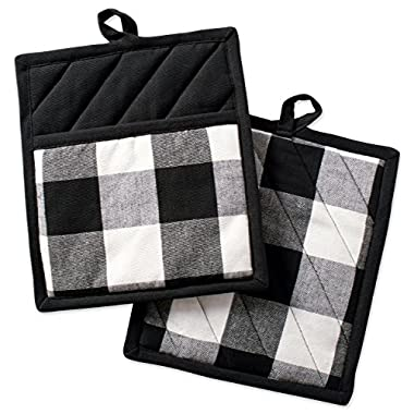 DII Buffalo Check Plaid Pot Holders with Pocket, Heat Resistant Pocket Mitts for Everyday Kitchen Cooking and Baking, Perfect for Holidays or Hostess & Housewarming Gifts (9x8  - Set of 2), Black & White