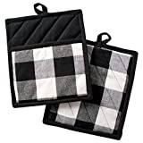 DII Buffalo Check Plaid Pot Holders with Pocket, , Black & White, (Set of 2), 9' x 8'