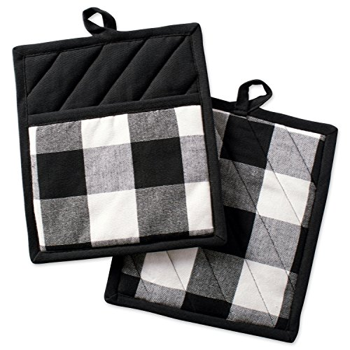DII Buffalo Check Plaid Pot Holders with Pocket, , Black & White, (Set of 2), 9' x 8'