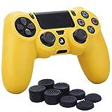 YoRHa Silicona Caso Piel Fundas Protectores Cubierta para Sony PS4/slim/Pro Mando x 1 (Amarillo) con Pro los puños Pulgar Thumb gripsx 8