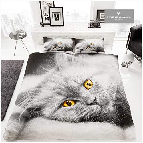 Gaveno Cavailia Premium colección 3D Cat Set con Funda de edredón y Funda de Almohada poliéster, Doublé