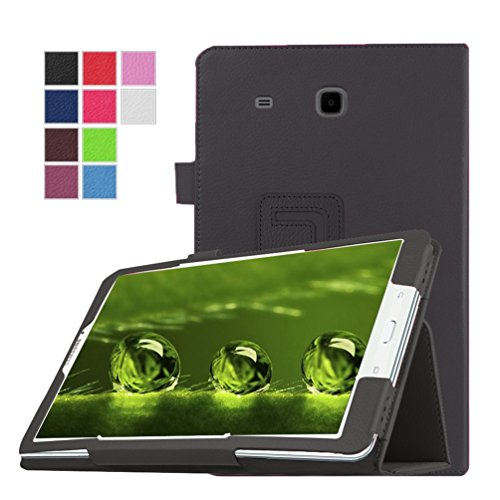 Beebiz Galaxy Tab da 9,7-Custodia Ultra Slim-Custodia in Pelle, Cover con Supporto per Samsung Galaxy Tab da 9,7 Pollici, SM, T550/T555 Smart Case-Custodia A Libro Nero Samsung Galaxy Tab E 9.6