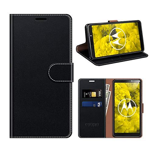 COODIO Motorola Moto G6 Play Hülle Leder, Moto G6 Play Kapphülle Tasche Leder Flip Cover Schutzhülle Rugged für Motorola Moto G6 Play Handyhülle, Schwarz