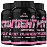 3 Pack Night Time Fat Burner,Appetite Suppressant and Sleep Aid Supplement,Boost Metabolism,Weight Loss Pills for Women and Men,60 Capsules Healthier Diet Pills