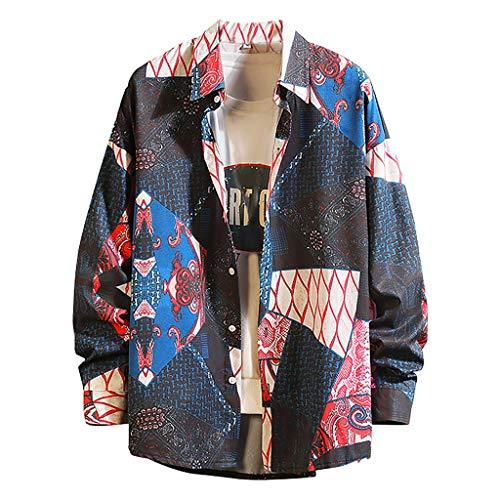 Yowablo Herren Shirt Freizeithemd New Spring Fashion Langarm Top großes bequemes bedrucktes Hemd (M,1Blau)