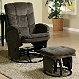 10. BOWERY HILL Glider Recliner and Ottoman in Chocolate and Black