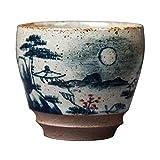 TXOZ Tazze in Ceramica Paesaggio Pittura Gres Lacosella Tazza da tè Giapponese tè Giapponese Tazza di tè Disegnata a Mano Disegno in Ceramica Regalo Tradizionale Artigianale, Nessuna Maniglia