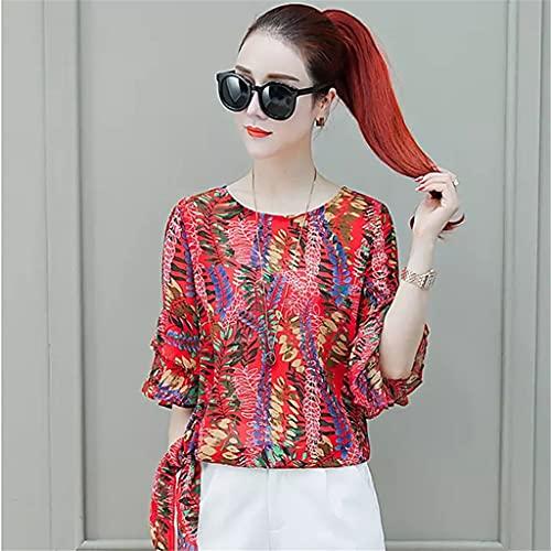 JJZSL Estilo Bohemio Mujeres De Verano Blusas De Gasa Camisas Lady Casual Short Flatear Sleeve O-Cuello Blusas Tops (Color : A, Size : XL Code)