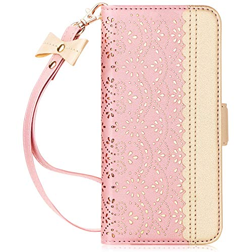 WWW Samsung Galaxy S10 Case,Galaxy S10 Wallet Case, [Luxurious Romantic Carved Flower] Leather Wallet Case [Inside Makeup Mirror] [Kickstand Feature] for Galaxy S10 6.1'(2019) Rose Gold