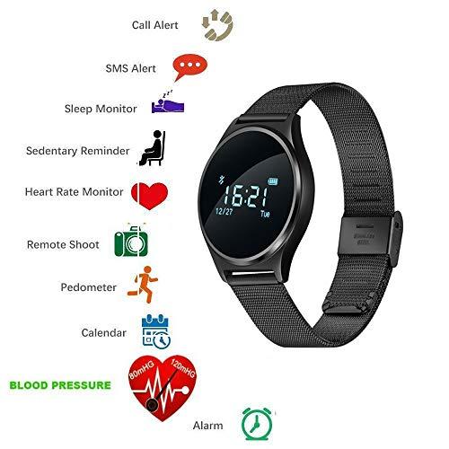 TKSTAR Sport Smartwatch Wasserdicht mit Pulsmesser, Blutdruck, Schrittzähler Uhren für Herren Damen Stahlband (Schwarz)