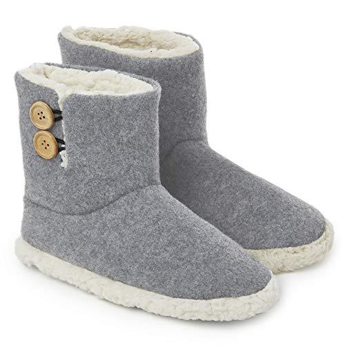 Dunlop Damen Hausschuhe Stiefel Memory Foam Plüsch Bequem Pantoffeln Slipper, Gr.- 37 EU, Grau