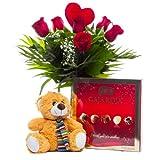 Florclick Ramo de 6 Rosas rojas con Bombones y Osito