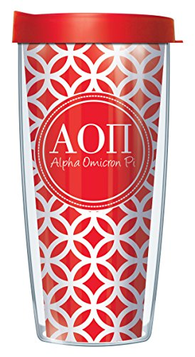 Signature Tumblers Alpha Omicron Pi Insignia Wrap on Red and White Roundabout 16 Ounce Double-Walled Travel Tumbler Mug with Cherry Red Easy Sip Lid