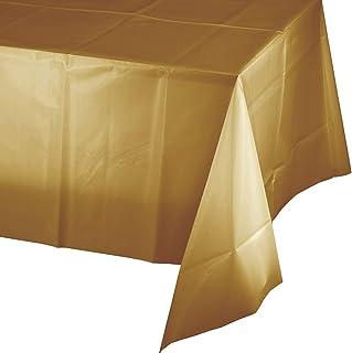 غطاء طاولة بلاستيك من كرياتيف كونفيرتينغ، طول 108 انش × عرض 54 انش، لون ذهبي لامع
