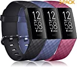 Pack 3 Silicone Bands for Fitbit Charge 4 / Fitbit Charge 3 / Charge 3 SE Replacement Wristbands for Women Men Small Large(Without Tracker) (Small: for 5.5'-7.1' Wrists, Black+Navy Blue+Wine Red)
