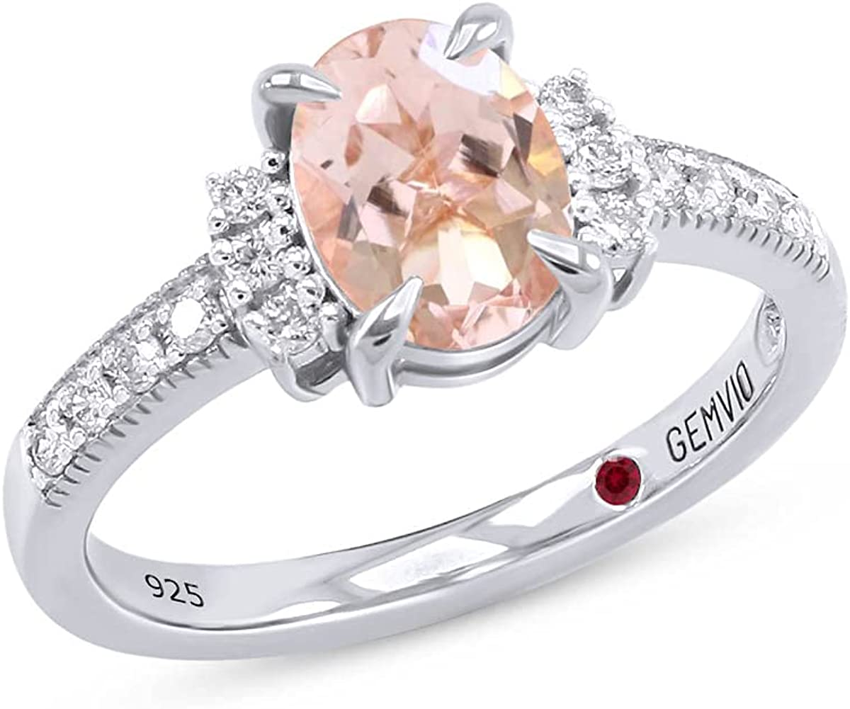 GEMVIO Collection Blush Trust Oval Morganite and In stock T.W. Diamond 15 1 CT.