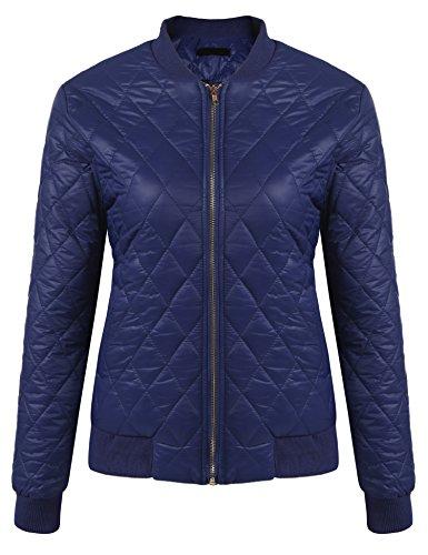Beyove Damen Steppweste Daunenweste kurzweste warm Weste Winterjacke mit Stehkragen (XL, B+Marineblau)