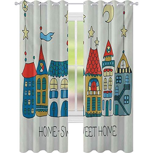 Cortinas de tratamiento de ventana, estilo dibujado a mano, ilustración de apartamentos, estrellas, luna y bandera de la ciudad, 52 x L95, cortinas opacas para dormitorio, multicolor