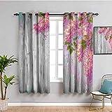 Decoración para sala de estar con estampado de flores, cortinas opacas, decoración floral, estilo acuarela, ramas de lila, sobre fondo de madera, impresión, color gris y rosa, 63 x 45 pulgadas