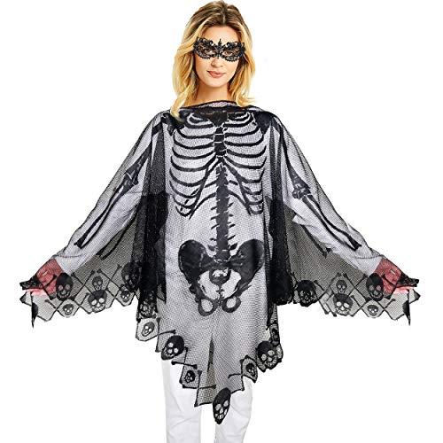 Skeleton Lace Poncho Women Halloween Costume Skull Bone Masquerade Cape Black