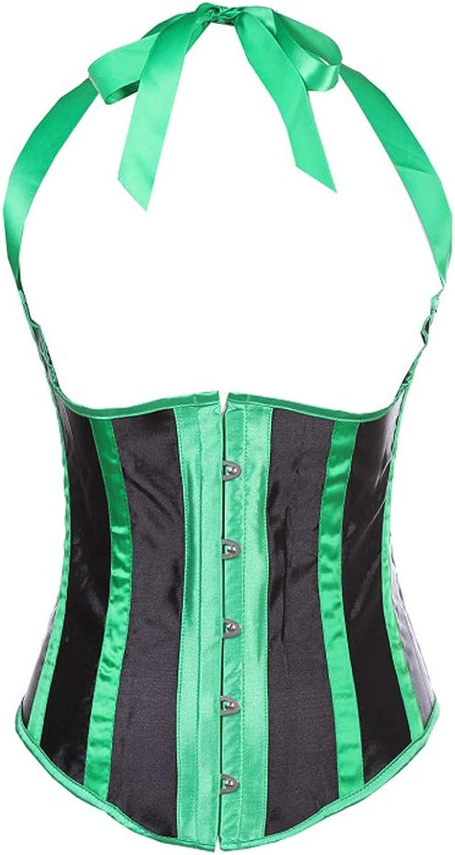 Womens Hanging Neck Corset Boned Lace up Waist Trainer Corset Top Renaissance Padded Corset Bustier,Green,XXXXL