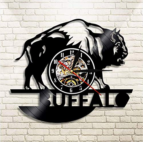 Pmhhc 1Piece Buffalo Vinyl Record Wall Clock Wildlife Animals Modern Design Home Decorative Wall Watch for Children Birthday Gift