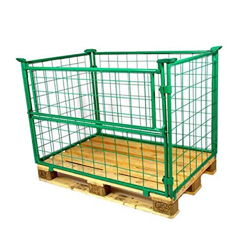 5er Set Gitter-aufsatzrahmen Gitterbox grün faltbar E.S.B. Gitteraufsatzrahmen 1200x800x800 mm lackiert für Euro-Paletten – mit 800 mm Nutzhöhe für DIN-Paletten – für Industrie & Garten & Brennholz