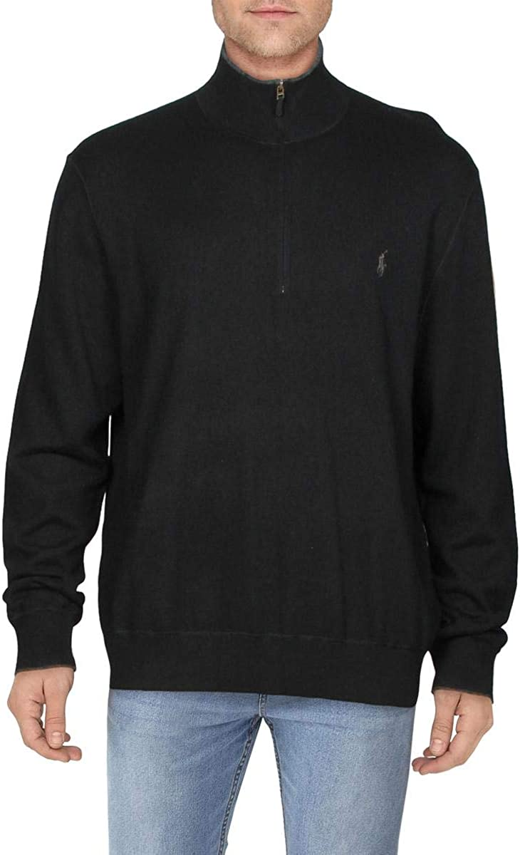 Ralph Lauren Mens Black Long Sleeve Quarter-Zip Sweater XXL