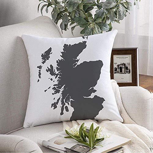 N\A Funda de cojín Decorativa Cuadrada Mapa de Escocia Atlas Elements Sahara Negro sobre Blanco Ubicaciones diversas Territorio Texturas Mundo Funda de cojín Suave para Dormitorio Sofá Sofá