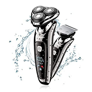 Hatteker Mens Electric Shaver Razor Beard Trimmer Rotary Shaver Cordless Sideburn Trimmer Wet/Dry 2 in 1 USB Rechargeable Waterproof Classic Black
