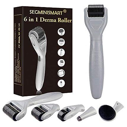 Derma Roller, Dermaroller, Dermaroller Titanio, Dermaroller Facial, Rodillo Agujas, 6 en 1 Derma Roller por para reducir arrugas, puntos oscuros, cicatrices, celulitis, estrías
