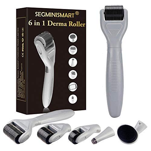Dermaroller, Dermaroller Set, Dermaroller Gesicht, 6 in 1 Micronadeln Derma Roller für Gesichtspflege mit Micro-Needling für Anti Falten, Schwangerschaftsstreifen, Haarausfall und Anti Falten