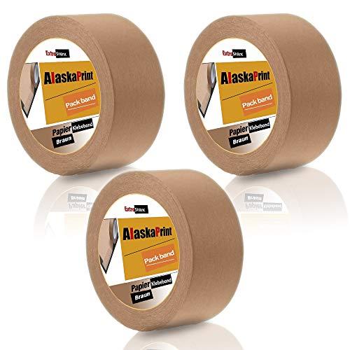 Alaskaprint 3 Rolle Papierklebeband 50m, Papier-Packband Papier Klebeband Paketband 50m x 50mm braun I leise abrollend I umweltschonende PP Klebeband